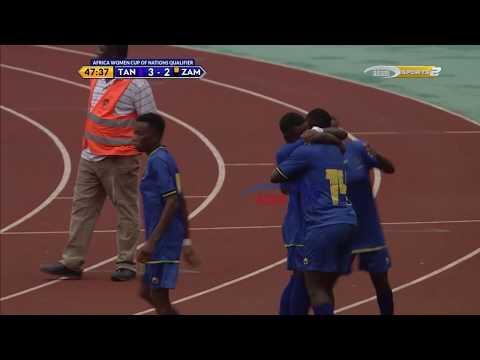 Asha Mwalala akiifungia Twiga Stars bao la tatu dhidi ya Zambia (Kufuzu AFCON)
