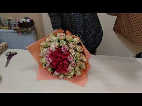 Собираем букет из розы 129, видеоурок, мастер класс. Часть 4