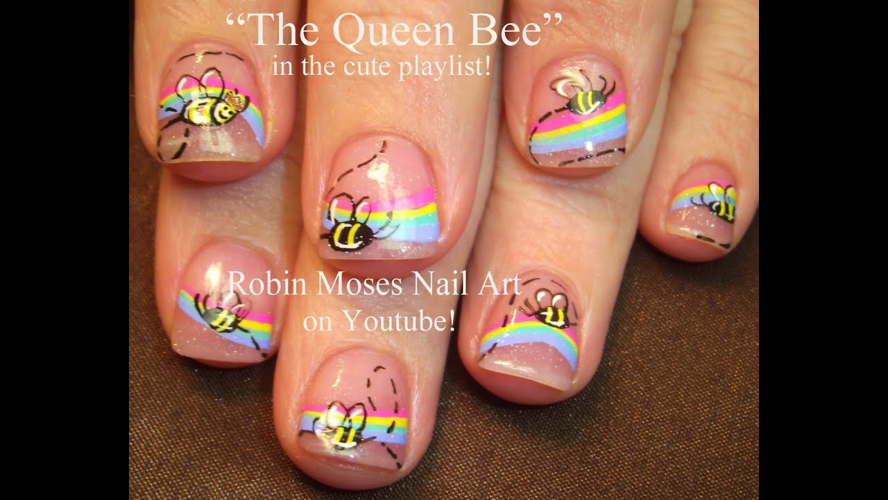 Easy spring bumble bee nail art pastel rainbow nails design easy spring bumble bee nail art pastel rainbow nails design tutorial prinsesfo Choice Image