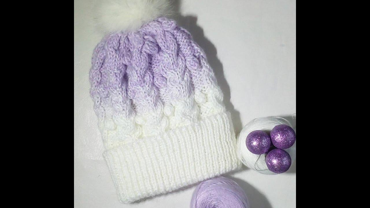 шапка спицами лавандовое небо шапка с градиентом шапка с косами