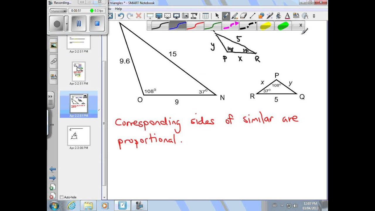 Finding Missing Measures Using Similar Triangles