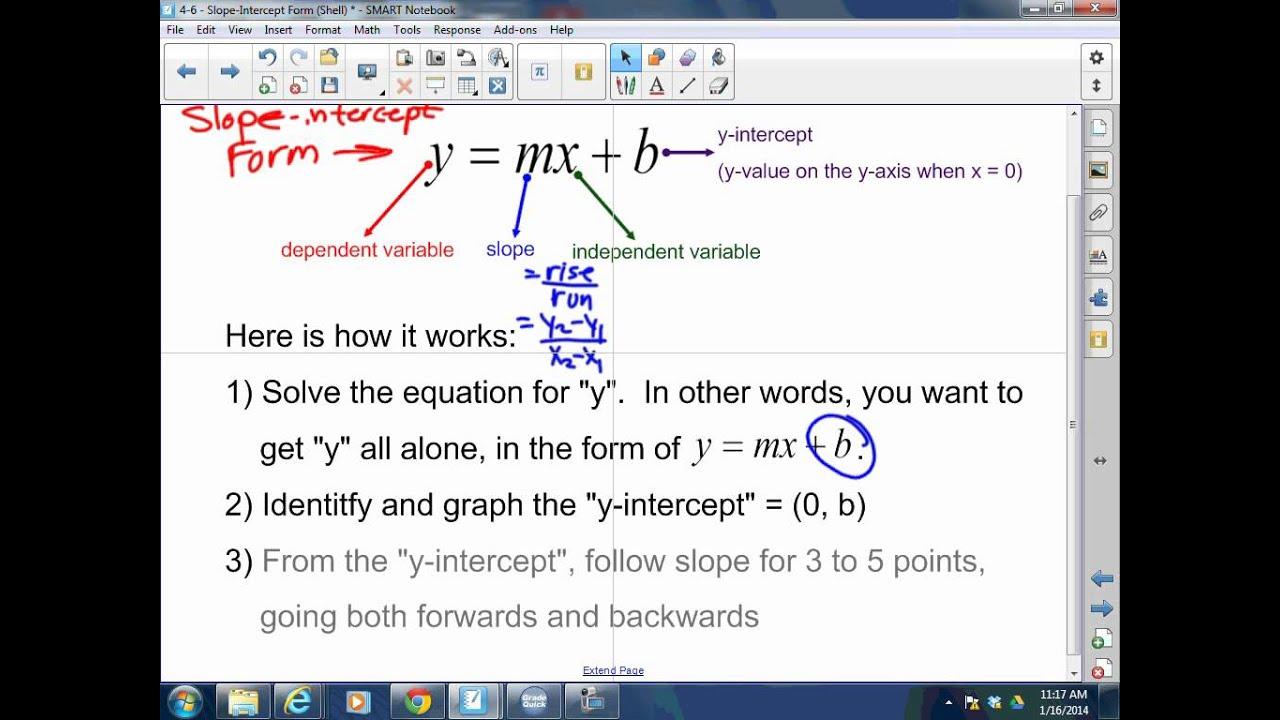 Algebra i 4 6 slope intercept form youtube algebra i 4 6 slope intercept form falaconquin