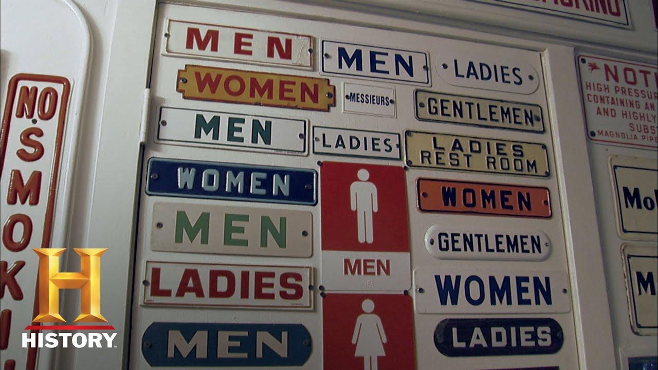 Bathroom Signs History american pickers: a bathroom fit for a collector (season 17
