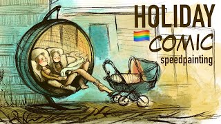 Holiday with a baby speed paint   with Nille Illustrations