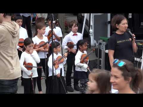 Suzuki violin and viola group performance - Newton Centre Green Park
