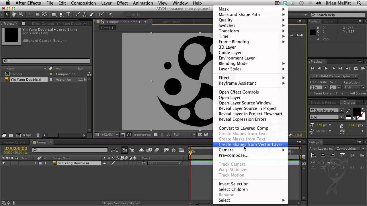 After Effects CS6 - Vector Footage Art-to-Shape conversion with ILCS6