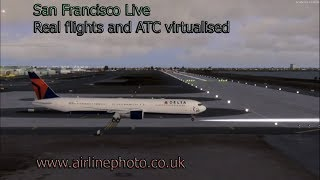 SFO San Francisco Virtual airport Live real life flights departures-arrivals virtualised!!!