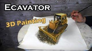 "Excavator ""Caterpillar"" 3D Painting/life-like Trick Art"