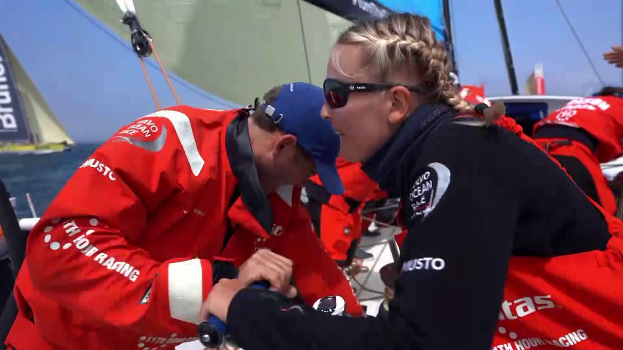 "Slomo dockout. Mark talks about it being a double-points leg. Weather tricky in the first few days. Nick: it's incredible looking at all the boats given the weather. Start. Dongfeng crossing behidn them. Yelling starboard at the weather mark. (Looks like TTToP was clear ahead to me.) Setting the A3. Lowering the J1. Rounding a buoy. MAPFRE luffing them; F-word from Mark. Stacking aft in the fog as SiFi tells them 12 minutes from turning up. SiFi: Hectic start. Fog cleared up to do the lap in the bay, but now it's socked in. Near the other boats; fast reaching to Nantucket Shoals. ""Gonna have to stay on our toes."""