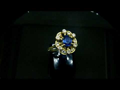 Vintage Sapphire Diamond Gold Ring French 18k Yellow Gold Blue Natural Stone Engagement Ring