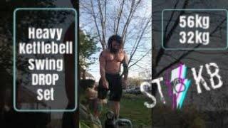 Heavy Kettlebell Swing Drop Set 56kg and 32kg