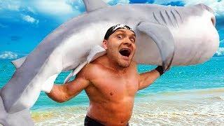 - ПОДНИМАТЕЛЬ АКУЛ МЕГАЛОДОН ЖИВ  Shark Lifting 2 ВЗРЫВ МОЗГА