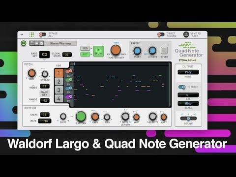 Waldorf Largo and Propellerhead Reason Quad Note Generator Player inside Reason 10.2