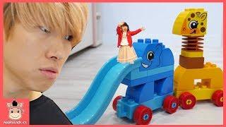장난감 만큼 유니가 작아졌어요! 동물 미끄럼틀 타고 신나게 놀아요♡ 레고 듀플로 동물 기차 & 우리아이 감정놀이 블럭 놀이 LEGO Toys | 말이야와아이들 MariAndKids