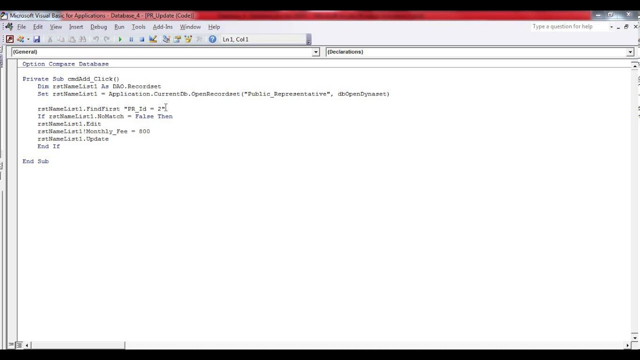 Creating an Update Query using Visual Basic