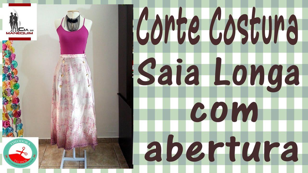 5285d6776 Curso Corte e Costura passo-a-passo Saia Longa com Aberturas - Super Fácil!  - YouTube