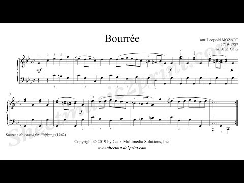 Leopold Mozart : Bourree in C minor - Sheetmusic2print com