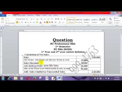 Financial Statement  Working & Gross Margin