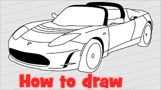 How to draw a car Tesla Roadster