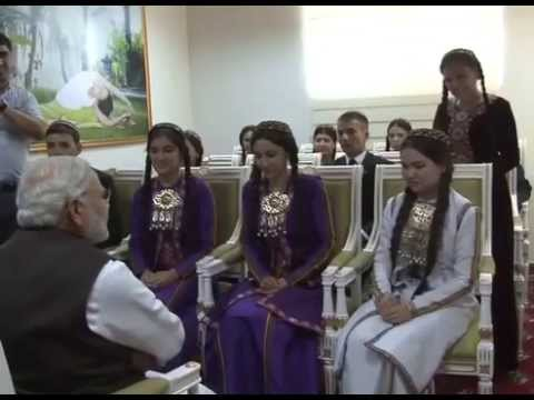 PM Modi interacts with the students of Hindi in Ashgabat, Turkmenistan