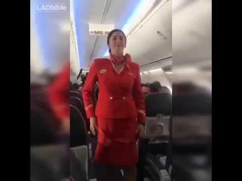Thumbnail: Football Fans distracting the air hostess during safety announcement [Funny]