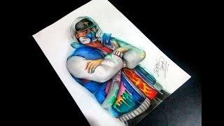 How to Draw Skin Fortnite Abstrakto Fan Art | Keivin Art Drawing Illustration | Speed Drawing |