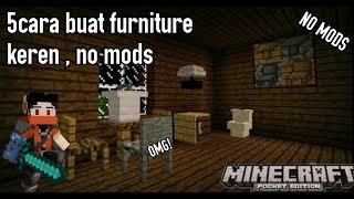 5 cara buat furniture di minecraftPE no mods! Keren abis