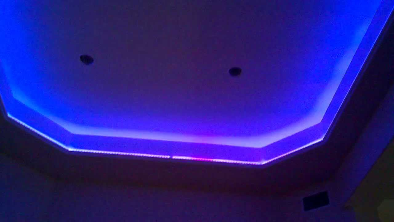 Led Color Changing Lighting In A Home Media Room Youtube