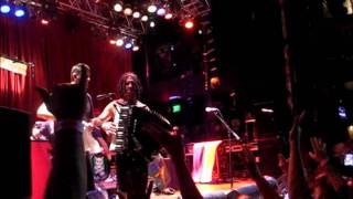 NOFX Eric Melvin FIGHT Jumps Into Crowd Acordian Playing - NOFX Theme Song Eric Melvin