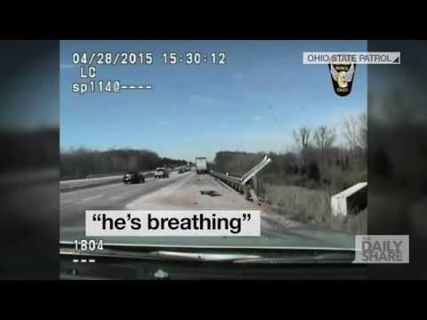 Caught on Cam: Watch this brave Ohio State Trooper rescue a stranded trucker