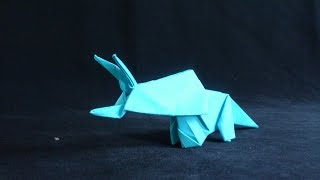 Cara Membuat Origami Dinosaurus Triceraptor | Origami Binatang