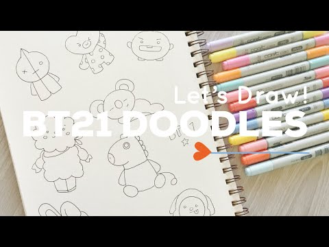 Let's Draw : BT21 Doodles (BTS X LINE FRIENDS) | Doodle with Me