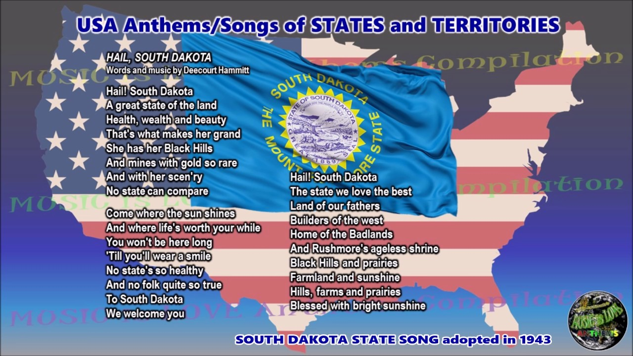South Dakota State Song Hail South Dakota With Music Vocal And