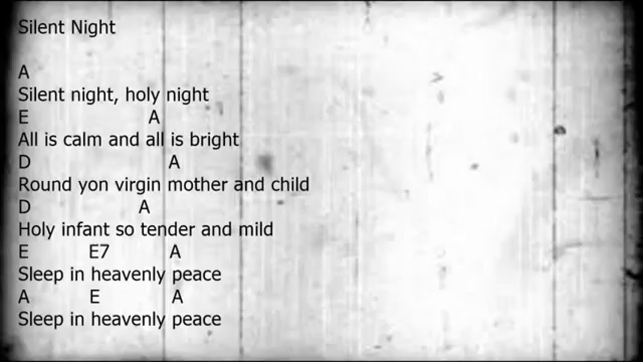 Silent Night Guitarchordslyrics Key Of A Youtube