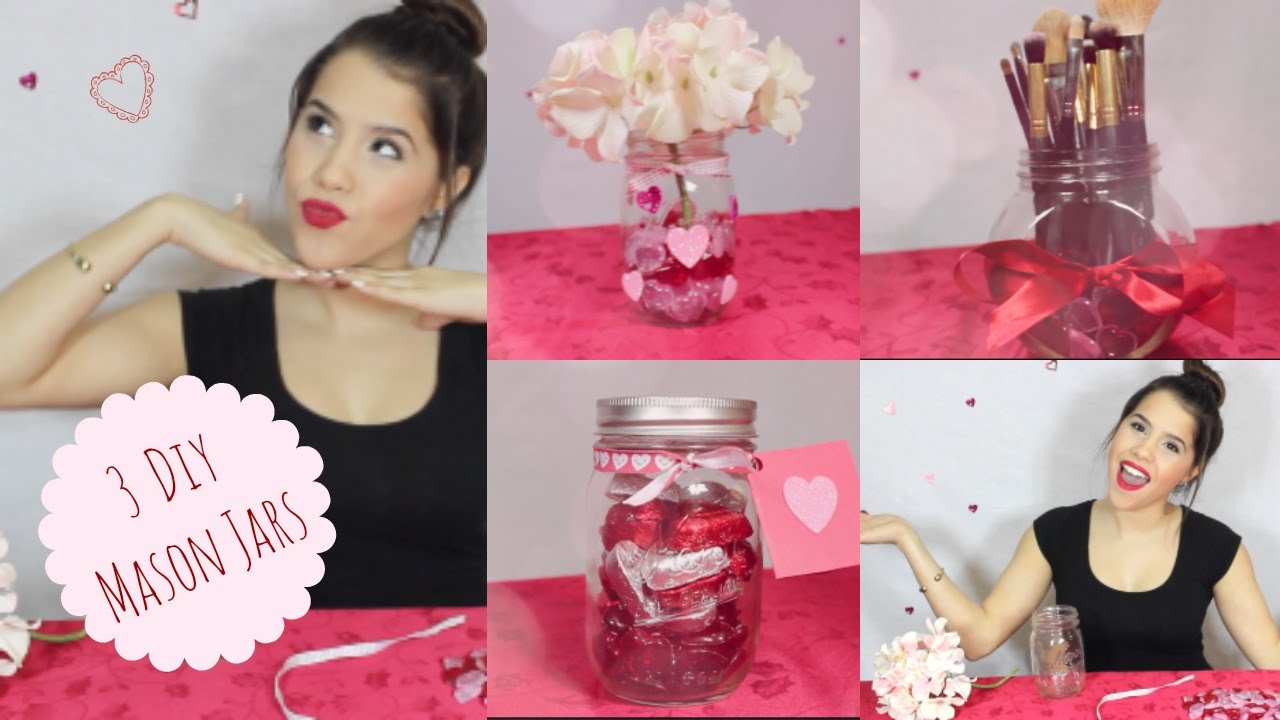 3 Valentine S Day Mason Jars Room Decor Gift Ideas Youtube