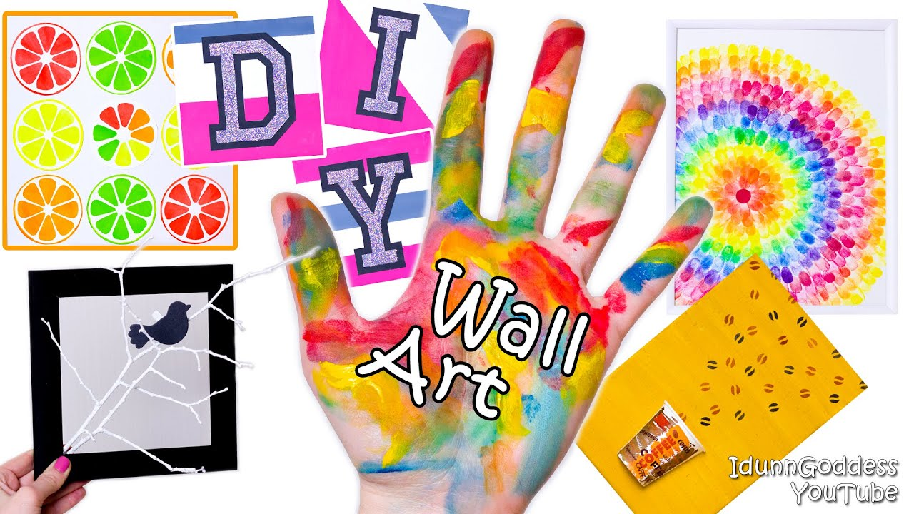 5 DIY Wall Art Projects or DIY Walls Room Decor (tutorial) - YouTube