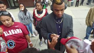 Alabama QB TUA TAGOVAILOA signs autographs for #SpeedHustlePanthers after game