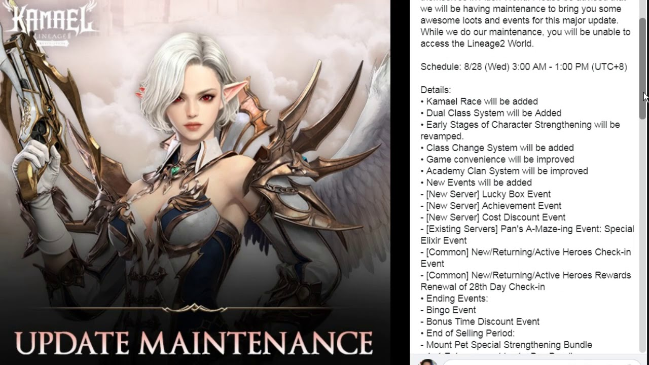 Lineage 2 Revolution Major Update Kamael Race & Patch Note