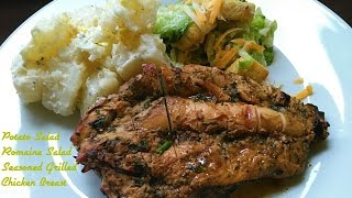 Well Seasoned Grilled Chicken Breast | Homemade Potato Salad With Romaine Caesar Dressed Salad