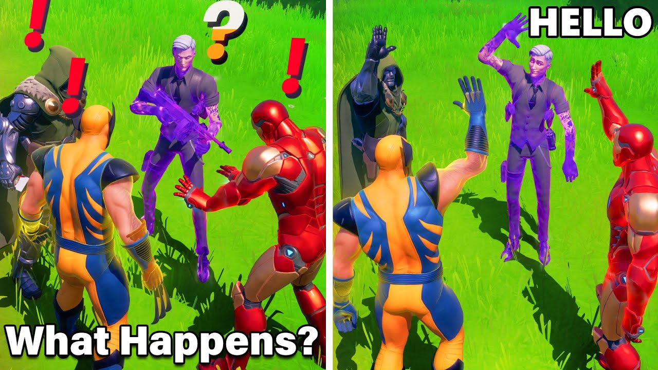 What Happens if ALL 4 BOSSES Meet in Fortnite (Boss Midas, Wolverine, Iron man, Doctor Doom)