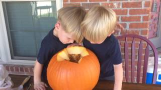 Benjamin & Thomas get pumpkin seeds 10/29/16