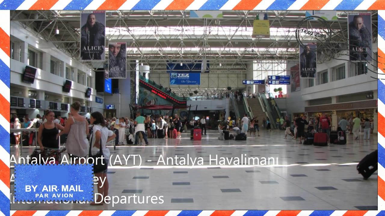 Inside Antalya Airport Turkey International departures area AYT