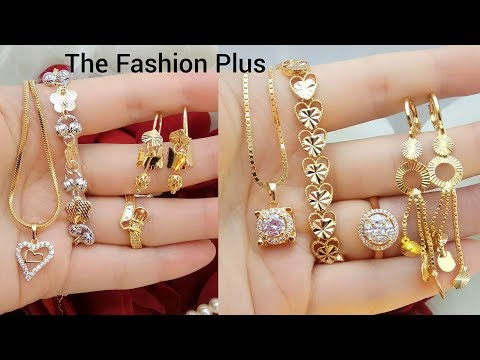 Latest light weight gold Necklace ,bracelet,ring,earring designs |Full COMBO gold set designs