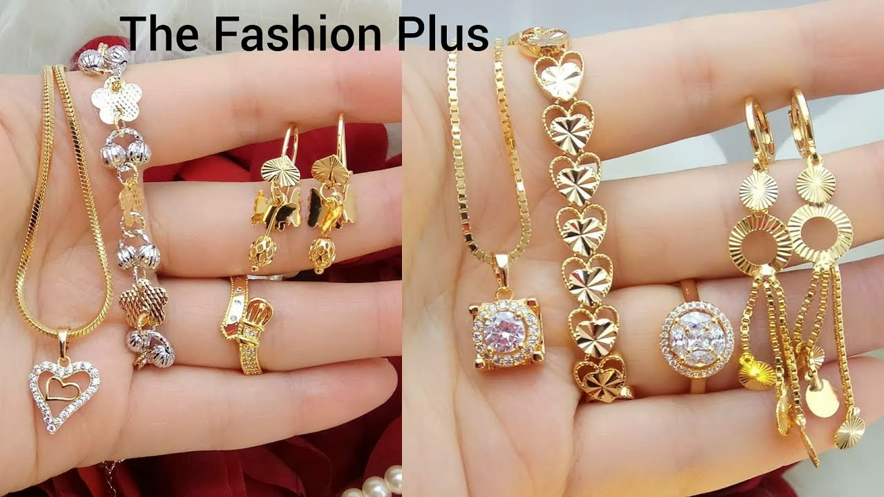 Latest Light Weight Gold Necklace Bracelet Ring Earring Designs Full Combo Set