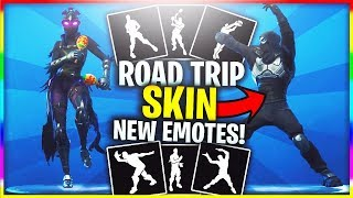 *NEW* ROAD TRIP Skin Does ALL New Emotes! (NEW Fortnite LEAKED Emotes - Fancy Feet, Shake it Up...)