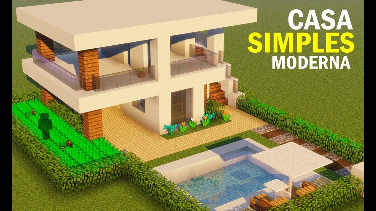 Minecraft construindo uma casa moderna simples youtube for Casa moderna minecraft rey zerch