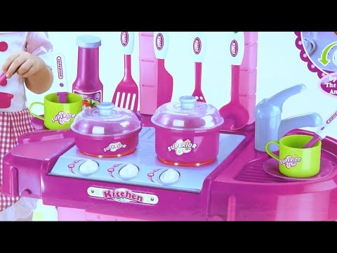 assembly Kitchen TOYS for Girls play becomes suitcase lights and sounds