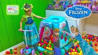 new giant frozen surprise toys ball pit challenge opening surprise eggs unboxing snap ins kids toy