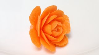 Carrot Small Cactus Rose Flowers - Advanced Lesson 31 - By Mutita Art Of Fruit Vegetable Carving Tut