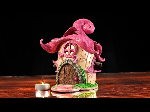DIY Fairy House Flower Clay Candle Holder | Paper Clay Tutorial